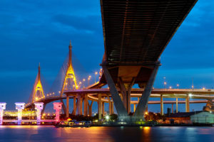 Bhumibol bridge. A double cable-stayed bridge across the Chao Phraya River, Bangkok, Thailand
